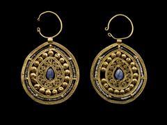 Pair of Openwork Pear-Shaped Earrings
