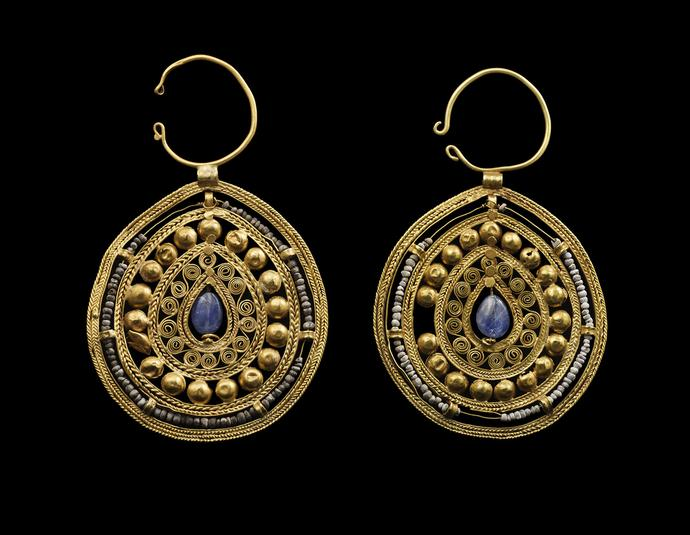 Pair of Openwork Pear-Shaped Earrings