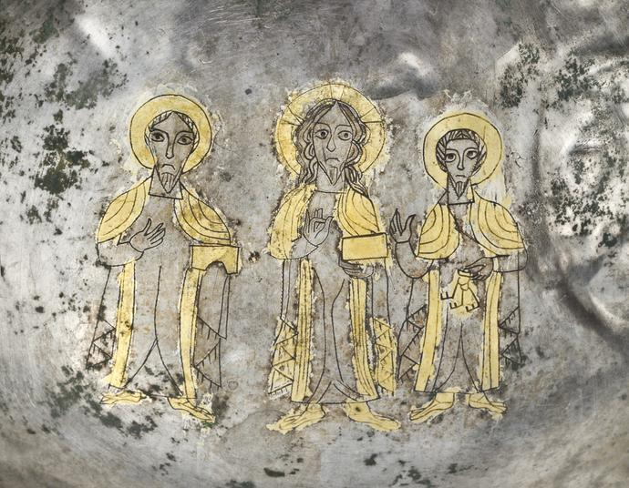 Dish with Christ flanked by Saints Peter and Paul