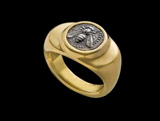 mobile version - Ring set with silver diobol of Ephesos