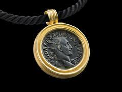 Pendant with brass dupondius of Severus Alexander