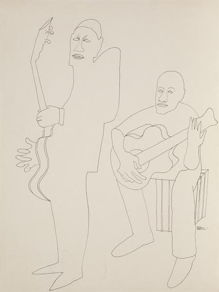 Benny Andrews (1930-2006) Study of Guitarists for...