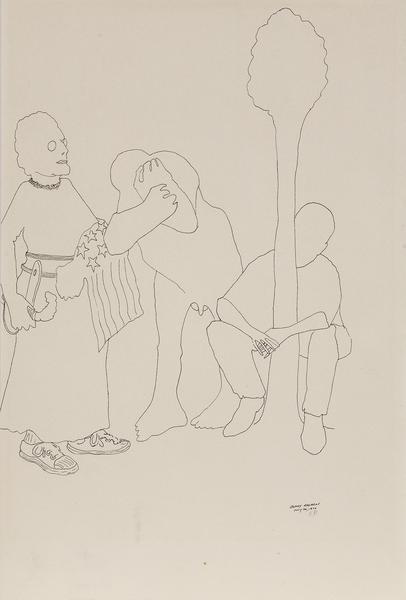 Benny Andrews (1930-2006) Trio (Study for Symbols)...