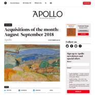 Apollo Magazine, October 3, 2018