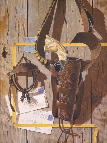 Untitled (Tromp L'oeil, Guns, Spurs, Letters),...