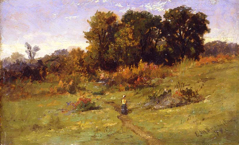 Landscape with Woman Walking on Path, 1879 oil on...