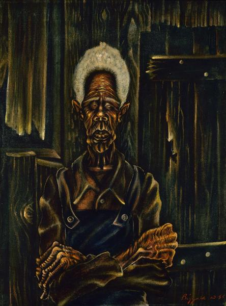 John Biggers (1924-2001) Sharecropper, 1945 oil on...