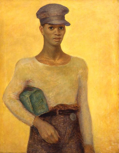 "Sheet Metal Worker, c.1940 oil on canvas 32""..."