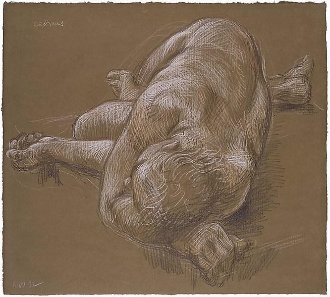Reclining Nude (November 1992), 1992 crayon on bro...