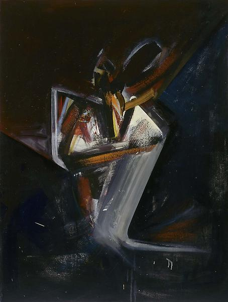 Josho, 1984 oil on paper on canvas with collage 47...