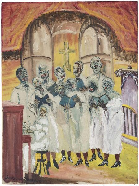 """Gospel, 1940 oil on canvasboard 24"""" x 17 3/4&..."""