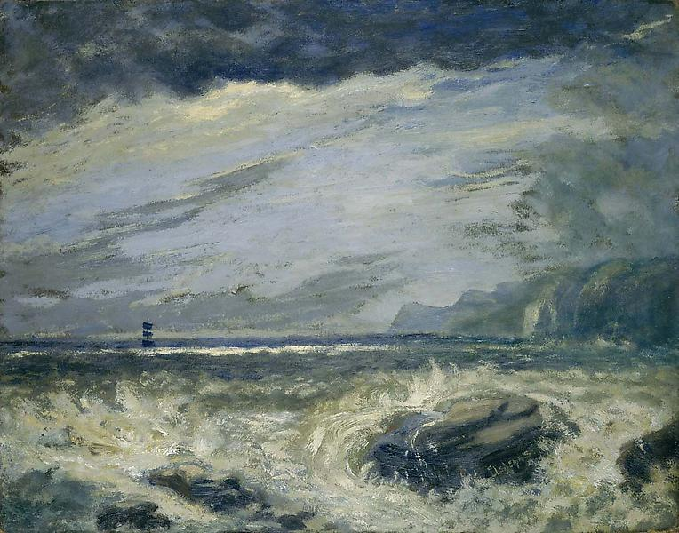 Untitled (A Distant Ship in Rough Sea), c.1908 oil...
