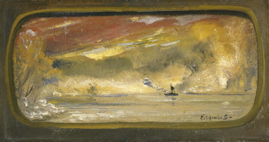 Untitled (Boat on Water), c.1911 oil on paperboard...