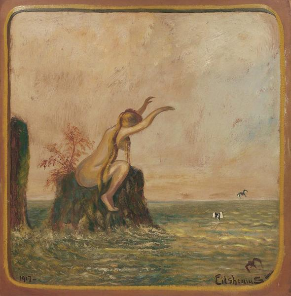 Untitled (Love Bather), 1917 oil on paperboard mou...