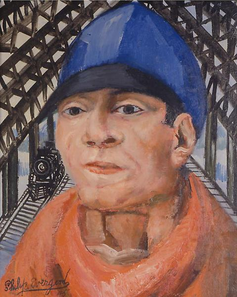 Head of a Railroad Man, 1945 oil on canvas 20&rdqu...