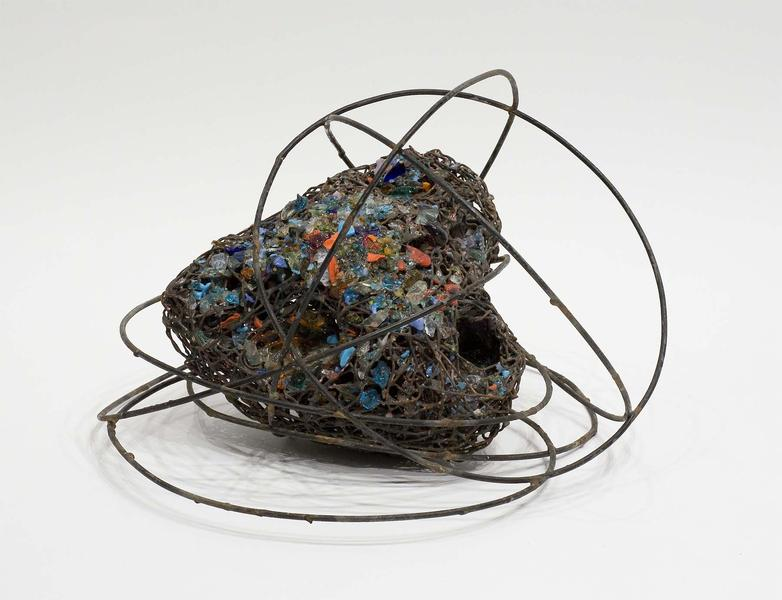 """Untitled, c.1965 steel and glass 10 1/2"""" x 16..."""