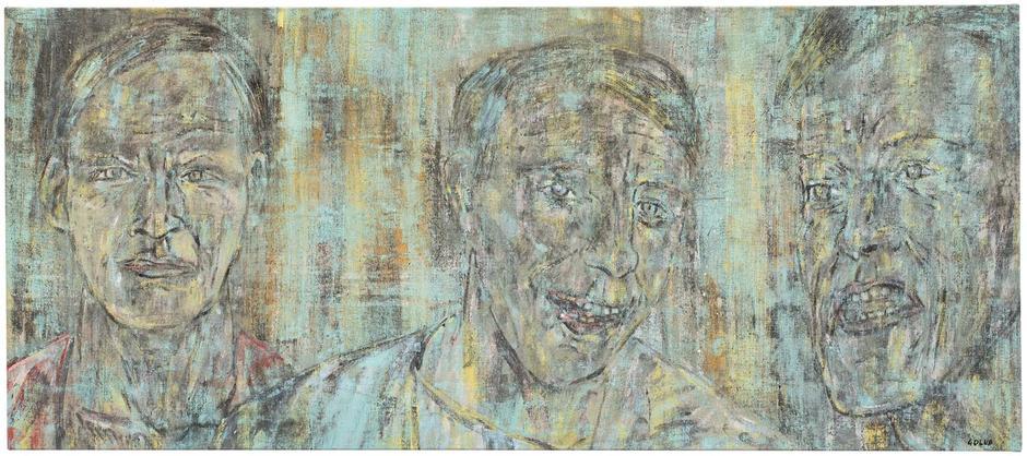 "Three Heads (II), 1988 oil on canvas 28 1/4"" x 64..."