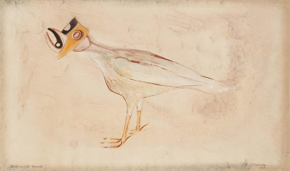Morris Graves (1910-2001) Bird with Mask, 1953 gou...