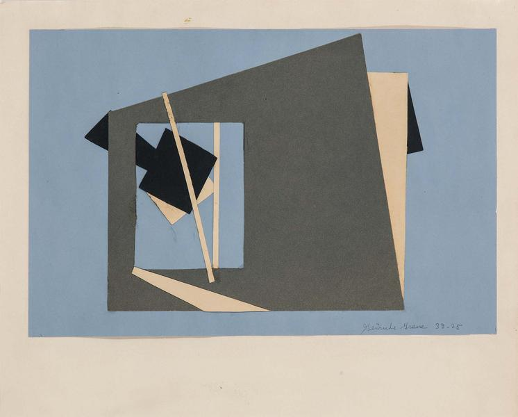 "38-25, 1938 cut paper collage on paper 11"" x 13 5/..."