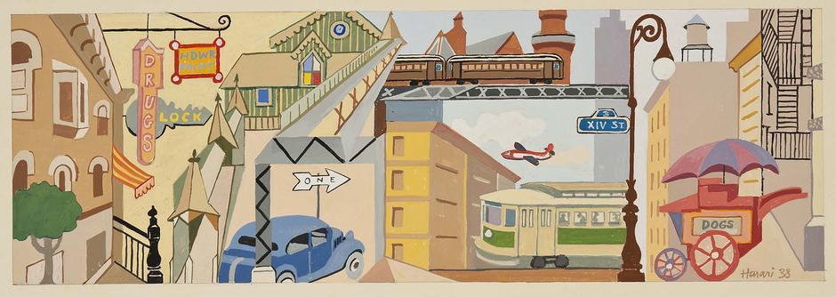 "City Slices, 1938 gouache on paper 9"" x 19 1/2"" sh..."