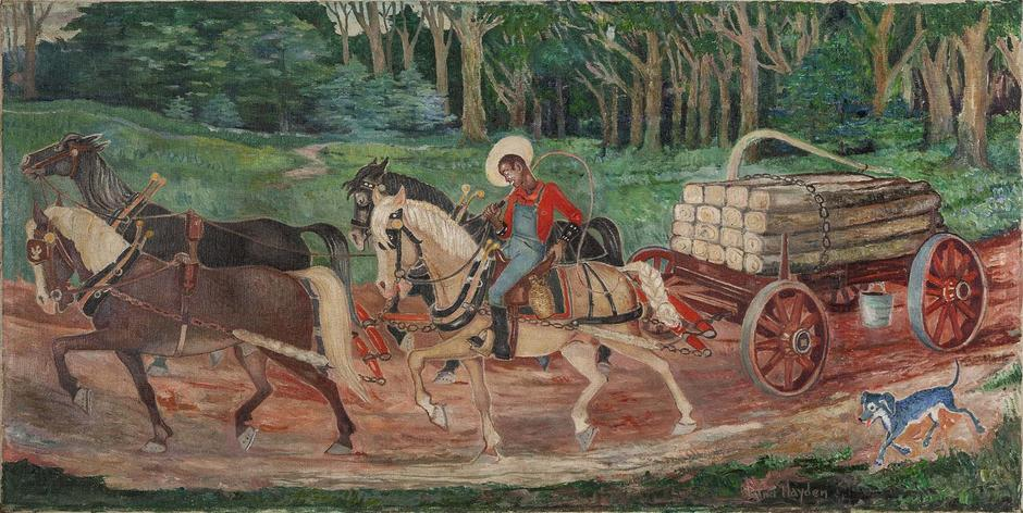 Untitled (Hauling Crossties), c.1945 oil on canvas...