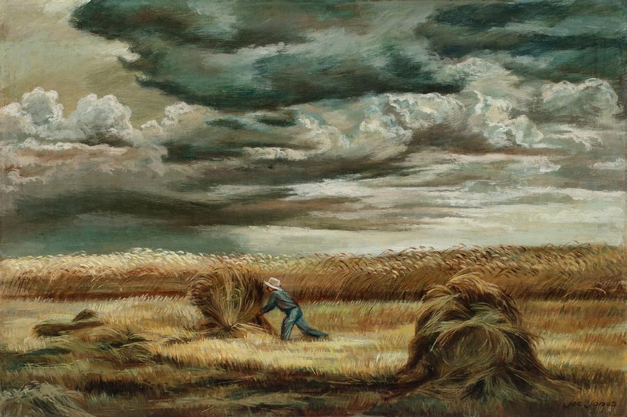 """Stacking Wheat, c.1935 oil on canvas 24"""" x 36..."""