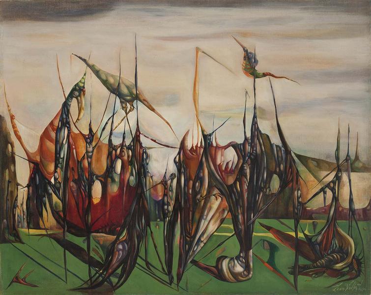 Ornithological Carnivale, 1947 oil on canvas 23 1/...