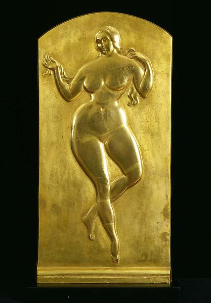 Bas-relief (Nude Dancing), c. 1917 bronze with gil...