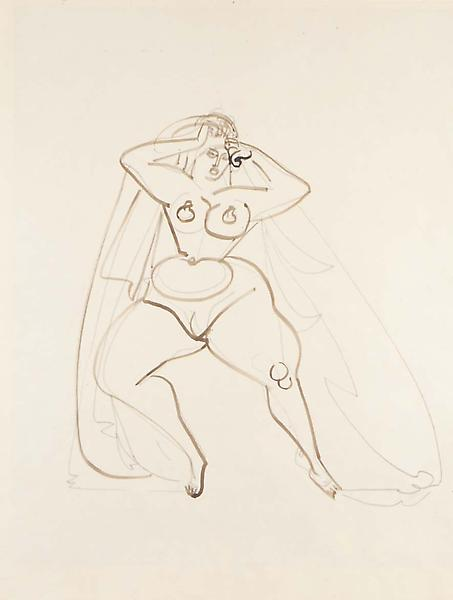 Untitled (Standing Woman), verso, c.1930 graphite...