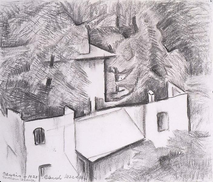 """Cassis, Southern France, 1923 graphite on paper 9""""..."""
