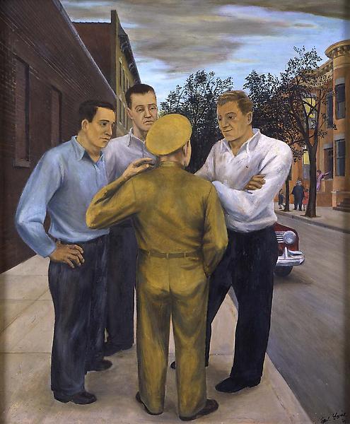 """Tales of War, 1941 oil on Masonite 34"""" x 28&q..."""