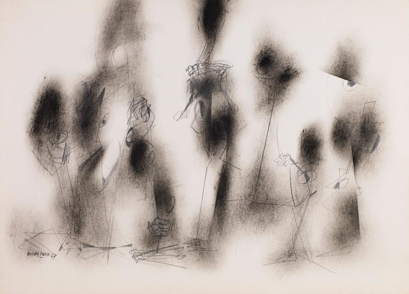 Untitled, 1968 oil and graphite on laid paper 30 3...