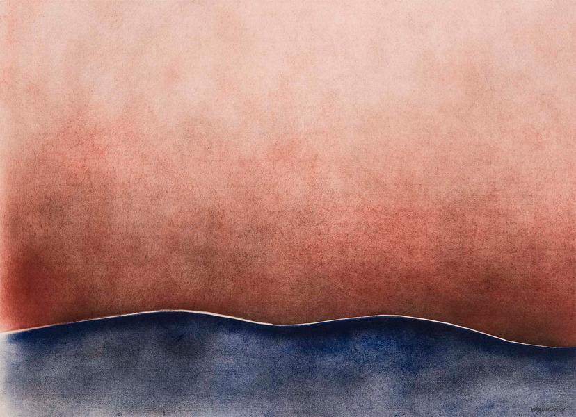 """Untitled, 1969 oil on laid paper 30 3/4"""" x 42..."""