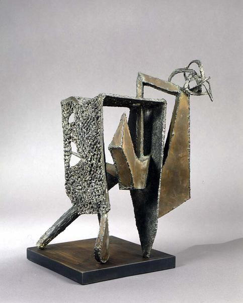 "Square Mask, 1948 bronze and lead 18 1/2"" x 1..."