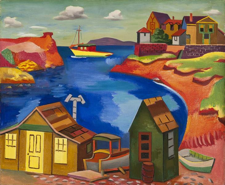 Houses on a Cove, c.1930 oil on canvas 23 1/4&quot...