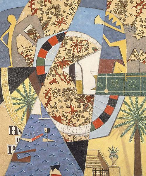 """Monte Carlo, 1948 oil on printed fabric 33"""" x 26 3..."""