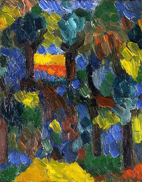 Untitled (landscape), 1956 oil on canvas board 10&...