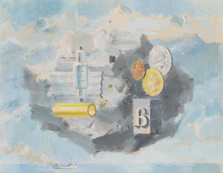 Allegory of Metals Over The Sea, c. 1954 gouache o...