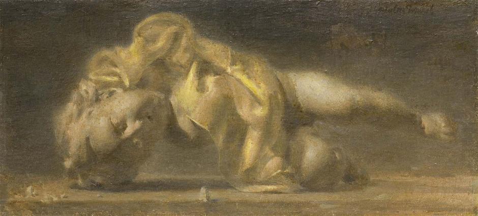 Fallen Cherub, 1951 oil on canvas mounted on board...