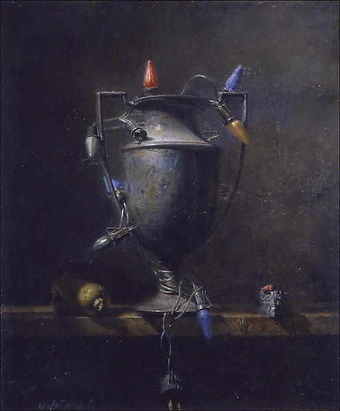 "Urn (and Lights), 1945 oil on Masonite 24 3/4"" x 2..."