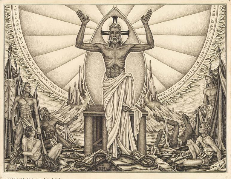 """Resurrection, 1940 black ink on paper 17 7/8"""" x 23..."""