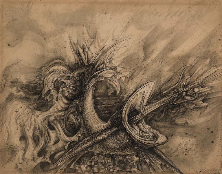 Theodore Roszak (1907-1981) Untitled, 1957 ink, wa...