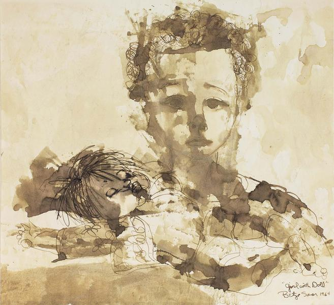Girl with Doll, 1964 brown ink and wash on paper m...