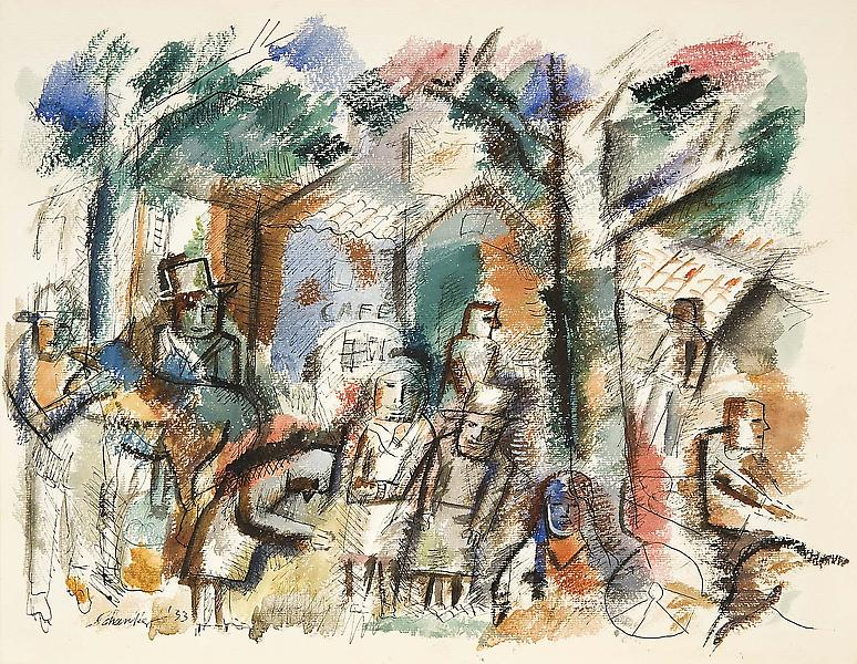"""Untitled, 1933 watercolor and ink on paper 15 5/8""""..."""