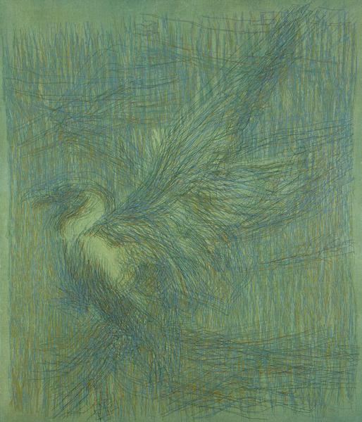 "Untitled (Green Bird), 1966 acrylic on canvas 48""..."