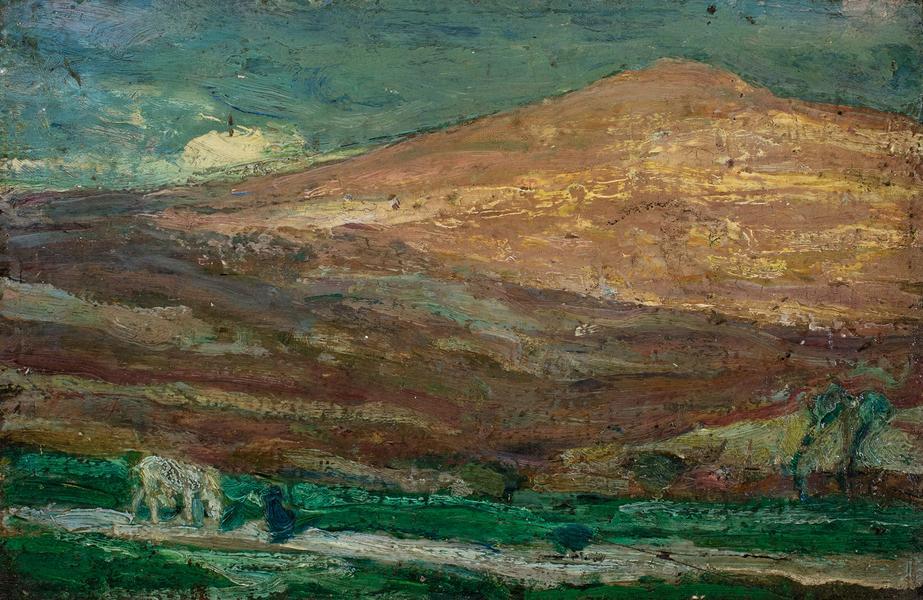 Hills of Jerusalem, c.1918 oil on board 6 1/2&quot...