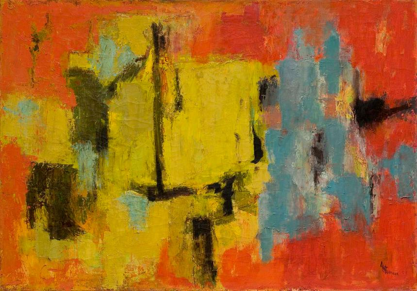 "Yellow and Blue, 1959 oil on canvas 28"" x 40"", sig..."