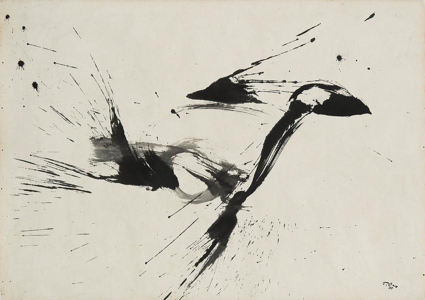 "Untitled, 1957 sumi ink on paper 24"" x 34"" signed..."