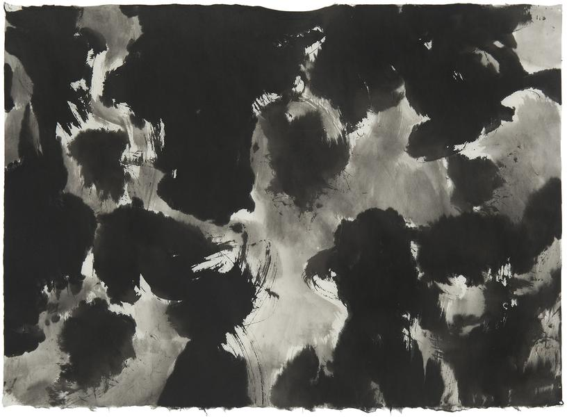 "Untitled, 1957 sumi ink on washi paper 21 1/2"" x 2..."