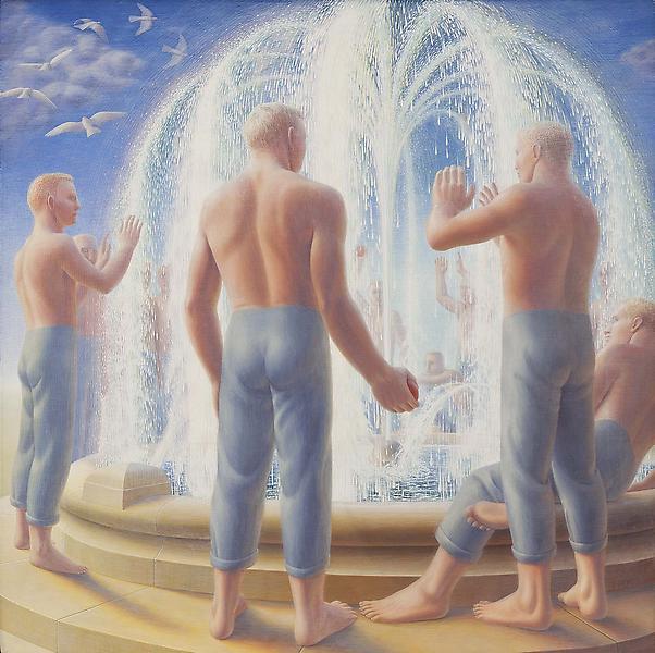 Fountain, 1950 egg tempera on gesso panel 24 x 24...